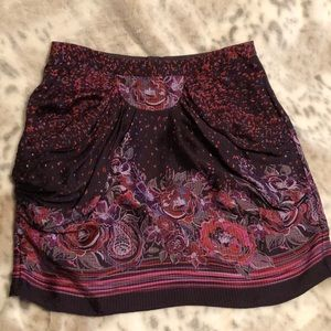 Anthropologie silk gathered front skirt size 0